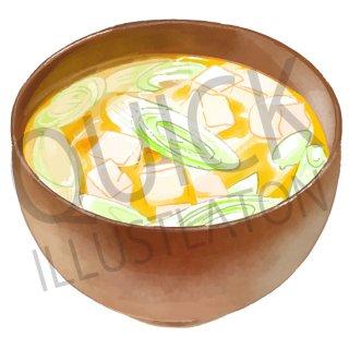 味噌汁 イラスト(食べ物、夕食、料理、クッキング、和食、)