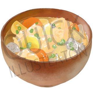豚汁 イラスト(食べ物、夕食、料理、クッキング、和食、)