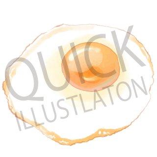 目玉焼き イラスト(食べ物、夕食、料理、クッキング、玉子、朝食)