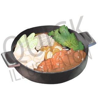 すき焼き イラスト(食べ物、夕食、料理、クッキング、和食)