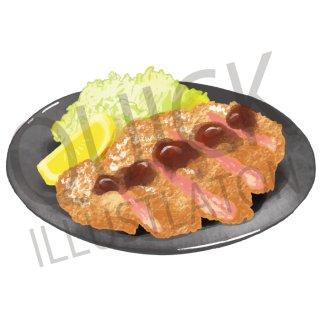 とんかつ イラスト(食べ物、夕食、料理、クッキング、和食、豚カツ、トンカツ)