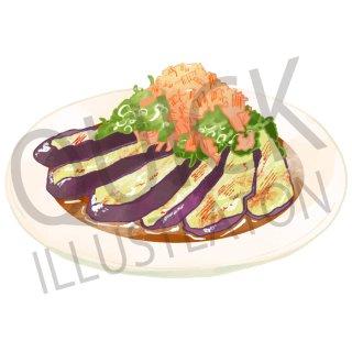 焼き茄子 イラスト(食べ物、夕食、料理、クッキング、和食、野菜)