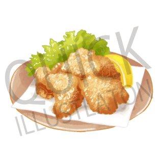鶏の唐揚げ イラスト(食べ物、料理、クッキング、和食、揚げ物、中華料理)