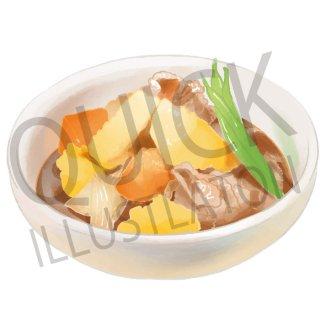 鶏肉じゃが イラスト(食べ物、料理、クッキング、和食)