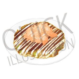 お好み焼き イラスト(食べ物、料理、クッキング、和食)