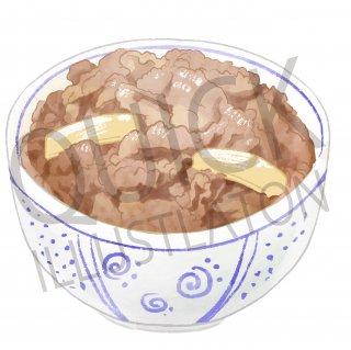 牛丼 イラスト(食べ物、料理、クッキング、和食)