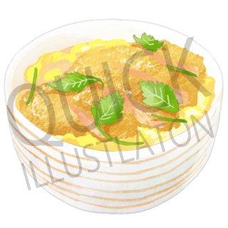 カツ丼 イラスト(食べ物、料理、クッキング、和食、ご飯、白飯、ごはん、お米)