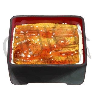 鰻重 イラスト(食べ物、料理、クッキング、和食、うなぎ、鰻丼)