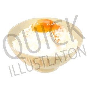 玉子かけご飯 イラスト(食べ物、料理、クッキング、和食、白飯、卵、生卵)