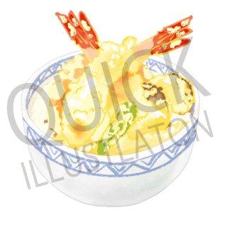 天丼 イラスト(食べ物、料理、クッキング、和食、白飯、お米、白米、)