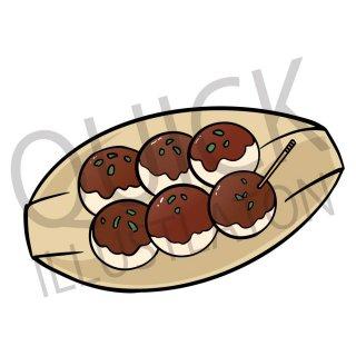 たこ焼き イラスト(食べ物、料理、クッキング、和食、)