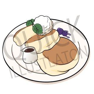 パンケーキ イラスト(食べ物、料理、クッキング、デザート、スイーツ、)