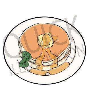 ホットケーキ イラスト(パンケーキ、食べ物、料理、クッキング、デザート、スイーツ、)