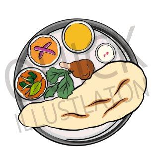インドのカレーライス イラスト(食べ物、料理、クッキング、インドカレー、インド料理、ネパール料理)