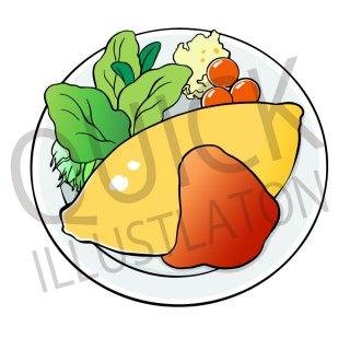 オムライス イラスト(食べ物、料理、クッキング、洋食)