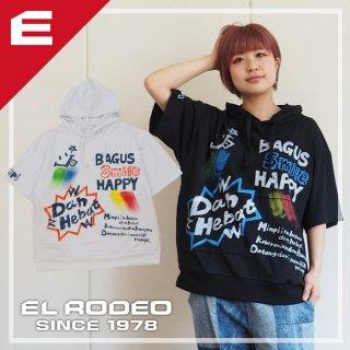 アップリケ+ペイントパーカーTシャツ