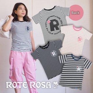 ROTE ROSA(ローテローザ) 後ろスタンプロゴボーダーTシャツ