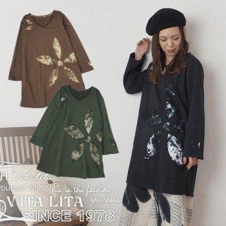 VITA LITA(ヴィータリータ)お花くりぬきAラインチュニック