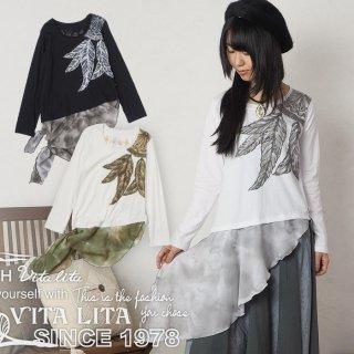 VITA LITA(ヴィータリータ)シフォン裾結び羽イラストカットソー
