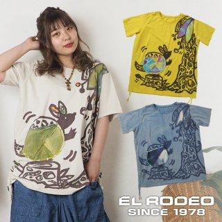 アルマジロ染めアップリケTシャツ