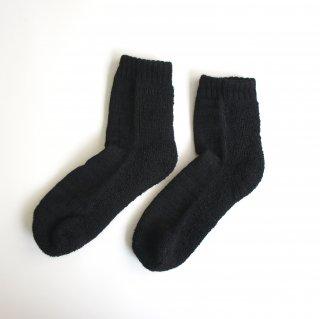 蒸れずに温かい 底パイルふわふわ靴下/ ブラック