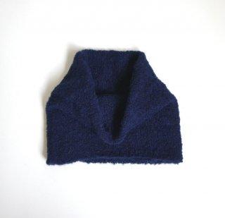 アルパカブークレの手編みネックウォーマー ネイビー