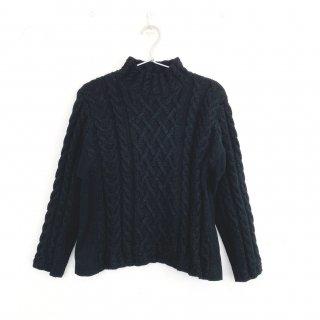 【1点物】アルパカ手編みケーブルセーター