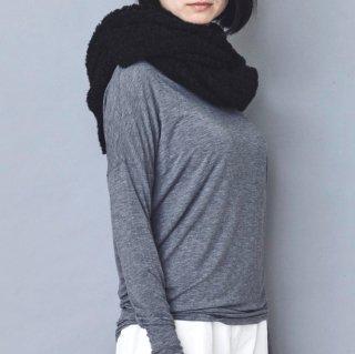 アルパカブークレ手編みの大判ショール ブランケット ブラック