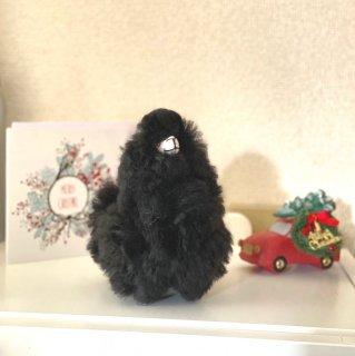 手のりサイズふわふわアルパカ人形ミニ ブラック(アルパカ原毛使用)