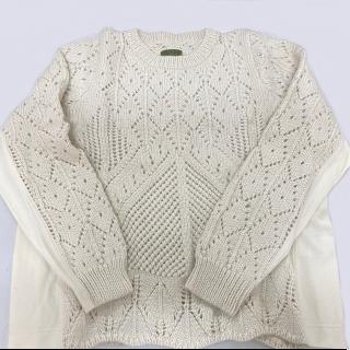 【1点物】アルパカ手編み透かし編みセーター