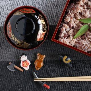 【セット】美濃焼陶器箸置き 「端午の節句  金太郎5点セット」(金太郎/クマ/まさかり/刀(赤)/兜)