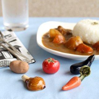 【ギフトにおすすめ】美濃焼陶器 箸置き 「ごろごろ夏野菜カレーセット」(ホールトマト・なす・じゃがいも・にんじん・玉ねぎ)