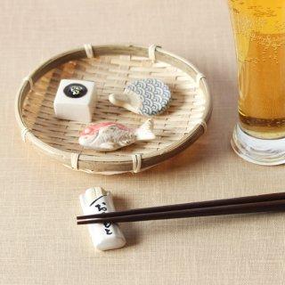 【ギフトにおすすめ】美濃焼陶器 箸置き 「おうちで乾杯セット」(冷奴・うちわ青海波・おてもと・鯛)