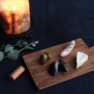 【ギフトにおすすめ】美濃焼陶器 箸置き 「おうちでワインバル5点セット」(バタール・カマンベール・ムール貝・オリーブピクルス・ワインコルク)