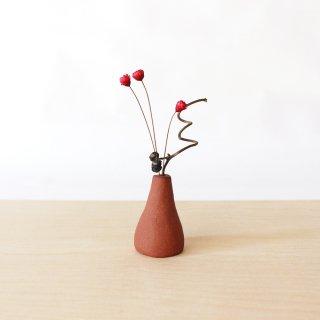 美濃焼 陶器 ドライフラワーベース「三角・茶」