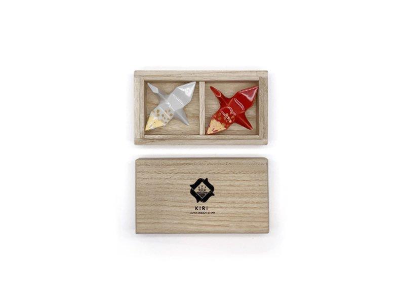 瀬戸焼 鶴の箸置き2個セット