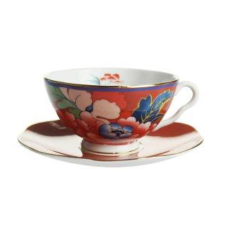 ウェッジウッド (WEDGWOOD) ペオニア ブラッシュ ティーカップ&ソーサー レッド【Spring☆Sale】