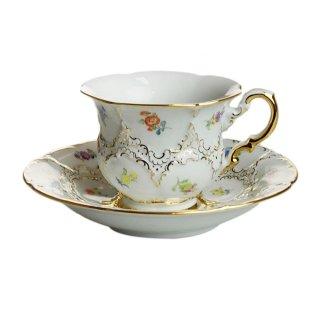 マイセン (Meissen) 金彩小花 ホワイト コーヒーカップ&ソーサー 200ml 15582