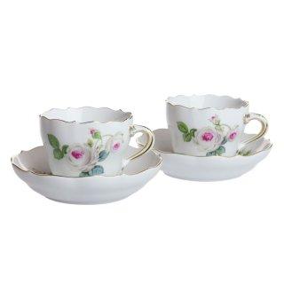 マイセン (Meissen) ホワイトローズ エスプレッソ コーヒーカップ&ソーサー ペア 029510/C0010