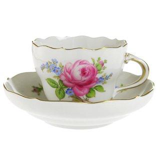 マイセン (Meissen) バラと忘れな草 コーヒーカップ&ソーサー 00582