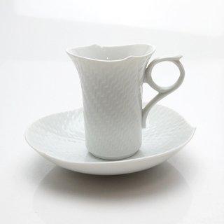 マイセン (Meissen) 波の戯れホワイト モカコーヒーカップ&ソーサー トール 29580