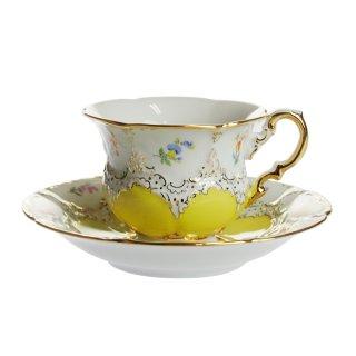 マイセン (Meissen) 金彩小花 イエロー コーヒーカップ&ソーサー 113098