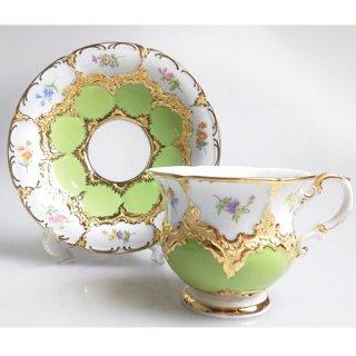 マイセン (Meissen) 金彩小花 グリーン コーヒーカップ&ソーサー  015079 / 15582