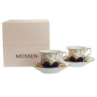 マイセン (Meissen) 金彩小花 ブルー コーヒーカップ&ソーサー ペア c1504