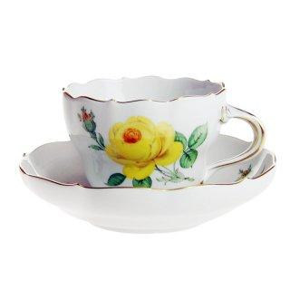 マイセン (Meissen) イエローローズ コーヒーカップ&ソーサー 582