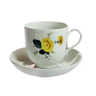 アンティーク<br>マイセン (Meissen)<br>花柄 カップ&ソーサー 1760年代 No.27