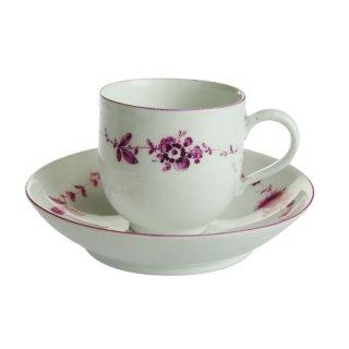 アンティーク<br>マイセン (Meissen)<br>パープル 花輪 カップ&ソーサー 1770年代 No.28