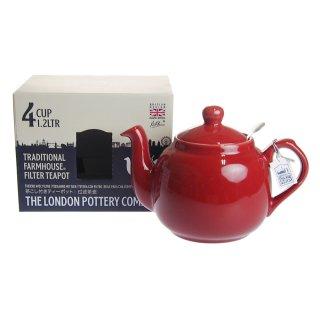 ロンドンポタリー (London Pottery) ファームハウス ティーポット レッド 4cup