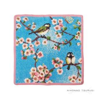 フェイラー (FEILER) シジュウカラと桜 ハンカチ ラズベリー 25×25cm