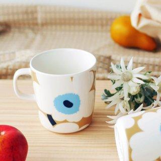 マリメッコ (marimekko) ウニッコ マグカップ 250ml ベージュ×ホワイト×ブルー